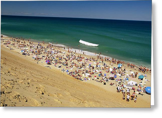 Sunbathing Greeting Cards - Sunbathers At Newcomb Hollow Beach Greeting Card by Michael Melford
