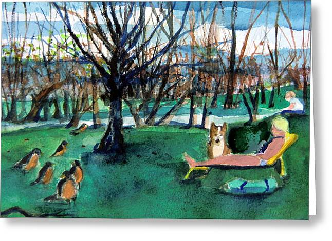 Lawn Chair Drawings Greeting Cards - Sunbathing with Friends Greeting Card by Mindy Newman