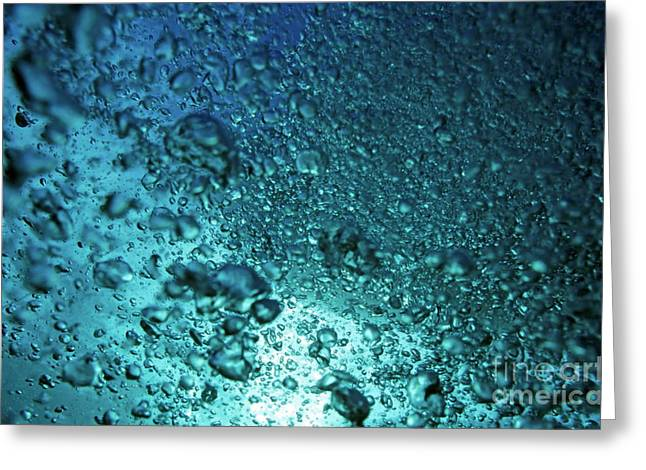 Air Bubbles Greeting Cards - Sunbeams penetrating air bubbles near the surface of blue water Greeting Card by Sami Sarkis