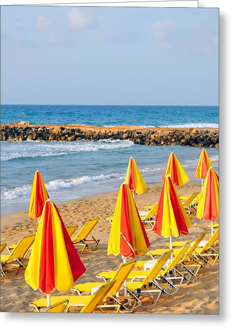 Sunbed Greeting Cards - Sunbeds and beach umbrellas. Greeting Card by Fernando Barozza