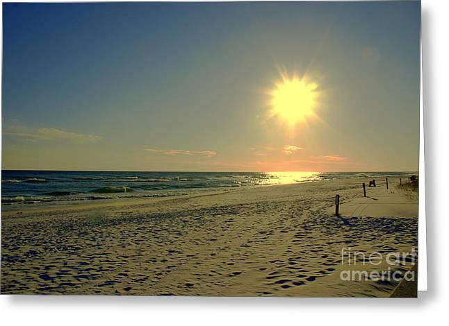 Sunburst at Henderson Beach Florida Greeting Card by Susanne Van Hulst