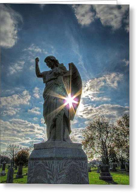 Religion Pastels Greeting Cards - Sunburst at Resurrection Greeting Card by Jackie Novak