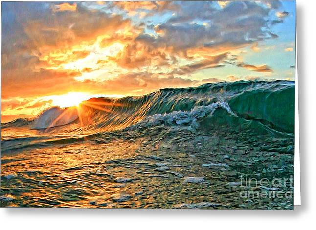 Laniakea Beach Greeting Cards - Sunburst Greeting Card by Paul Topp