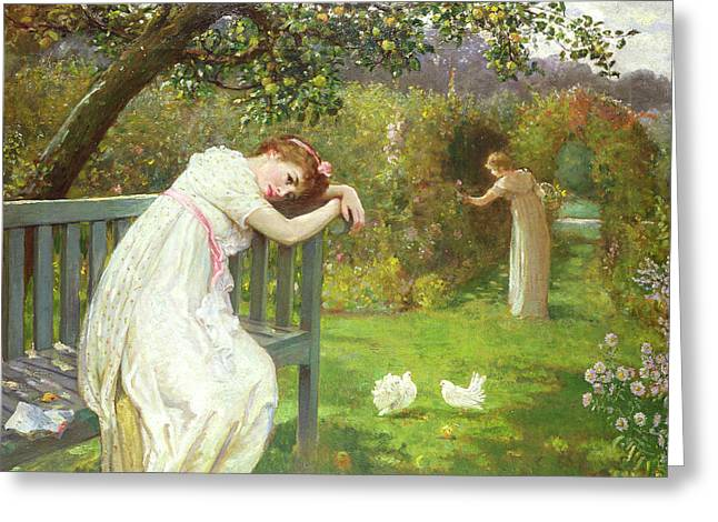 Ground Greeting Cards - Sunday Afternoon - Ladies in a Garden Greeting Card by English School