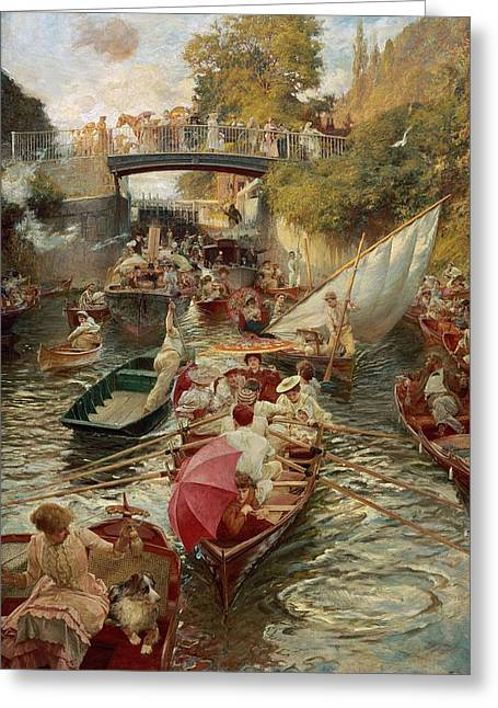Rowers Greeting Cards - Sunday Afternoon Greeting Card by Edward John Gregory