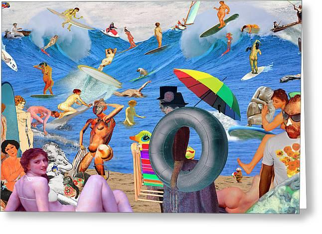 Modigliani Digital Art Greeting Cards - Sunday Afternoon Postmodern Beach Greeting Card by Barry Kite