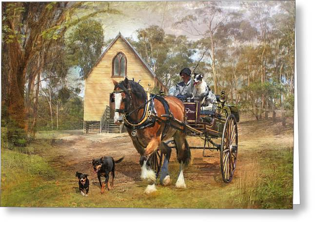 Kelpie Greeting Cards - Sunday Driver Greeting Card by Trudi Simmonds