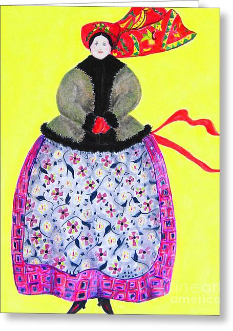 Apron Pastels Greeting Cards - Sunday in Russia Greeting Card by Rosemarie Glennon Kliegman