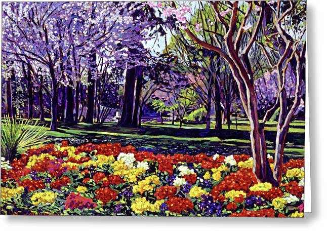 Cherry Blossoms Paintings Greeting Cards - Sunday In the Park Greeting Card by David Lloyd Glover