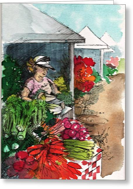 Whidbey Island Wa Greeting Cards - Sunday Market - Second Street Greeting Card by Judi Nyerges