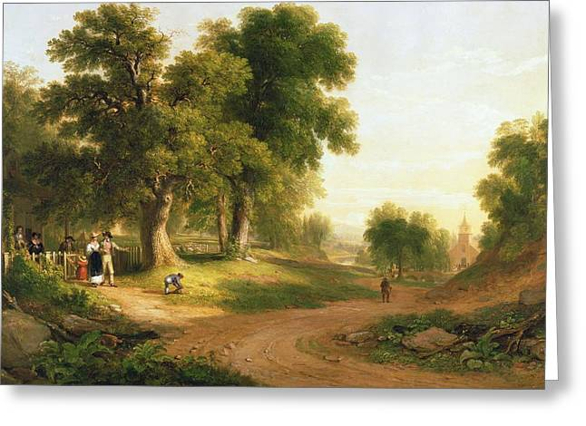 Rural Schools Paintings Greeting Cards - Sunday Morning Greeting Card by Asher Brown Durand