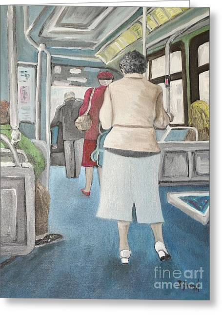 Montreal City Scenes Paintings Greeting Cards - Sunday Morning Bus Stop Greeting Card by Reb Frost