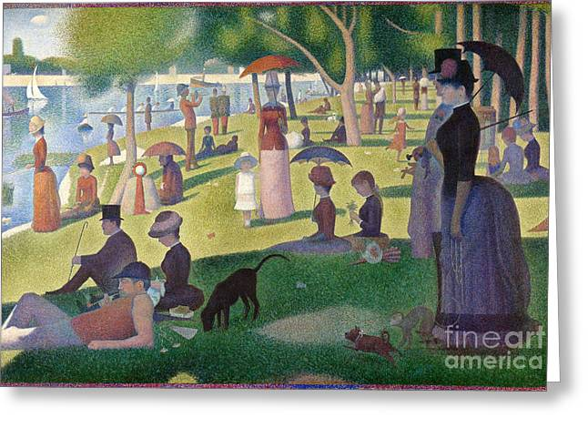 1884 (oil On Canvas) Greeting Cards - Sunday On The Grand Jatte Greeting Card by Pg Reproductions