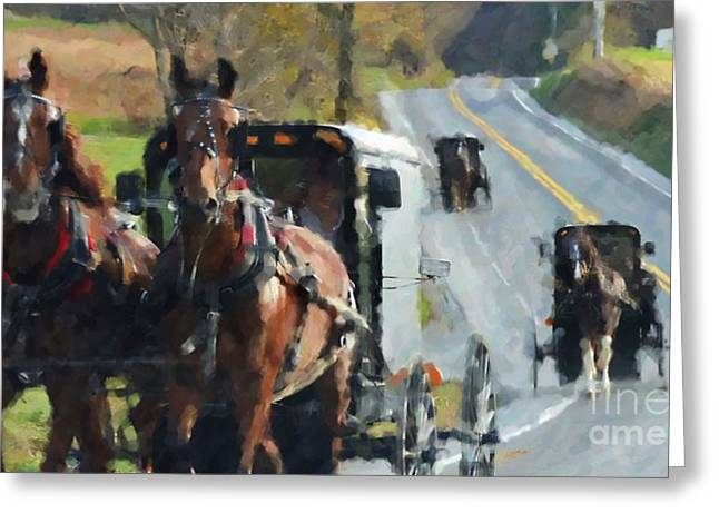 Pennsylvania Dutch Greeting Cards - Sunday Ride Greeting Card by Debbi Granruth