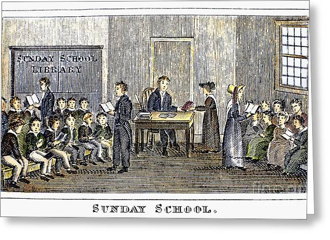 Schoolmistress Greeting Cards - Sunday School, 1832 Greeting Card by Granger