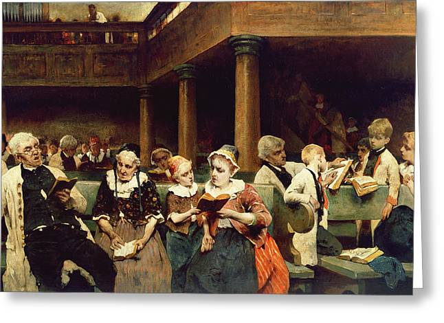 Sunday School Class  Greeting Card by Isaac Mayer