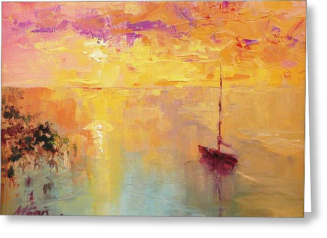 Sunday Sunset Greeting Card by Marie Green