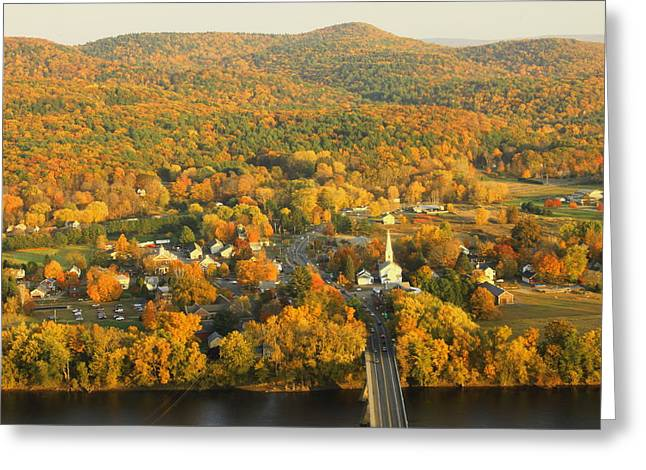 """autumn Foliage New England"" Greeting Cards - Sunderland from Mount Sugarloaf Greeting Card by John Burk"