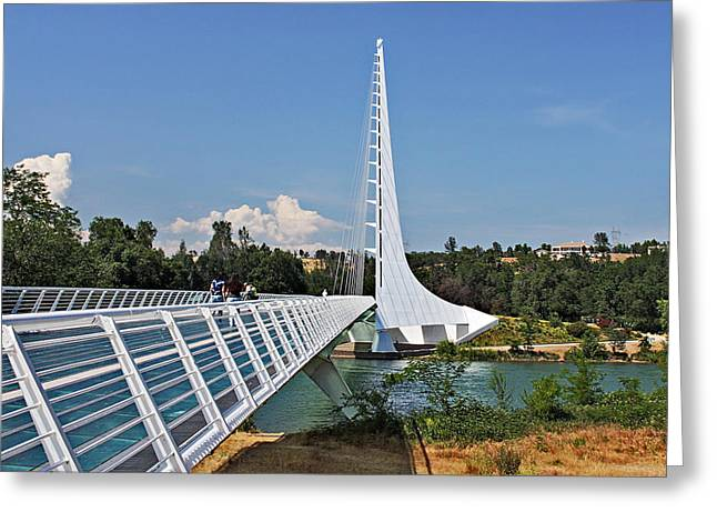 Metal Greeting Cards - Sundial Bridge - Sit and watch how time passes by Greeting Card by Christine Till