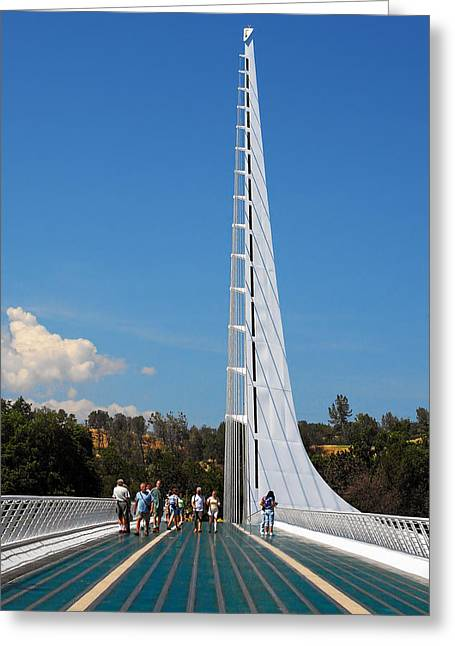 Engineering Greeting Cards - Sundial bridge - This bridge is a glass-and-steel sculpture Greeting Card by Christine Till