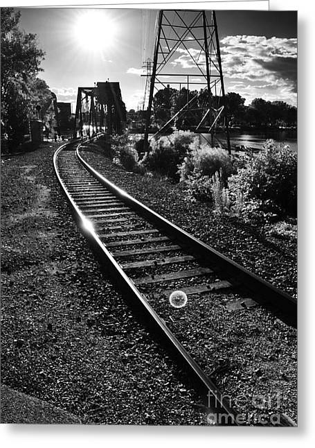 Appleton Greeting Cards - Sundown Gleaming Off The Rails Greeting Card by Shutter Happens Photography