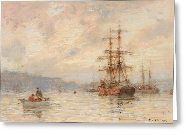 Ocean Ship Greeting Cards - Sundown Greeting Card by Henry Scott Tuke