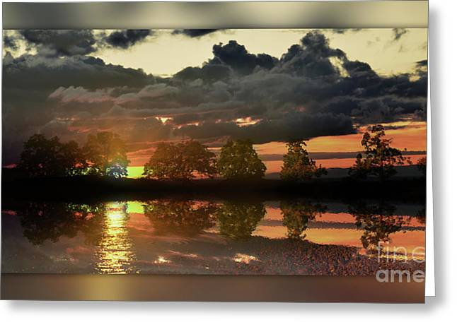 Colourfully Greeting Cards - Sundown In The Lake Greeting Card by Bruno Santoro