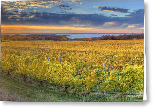 Traverse City Greeting Cards - Sunet from Old Mission Greeting Card by Twenty Two North Photography