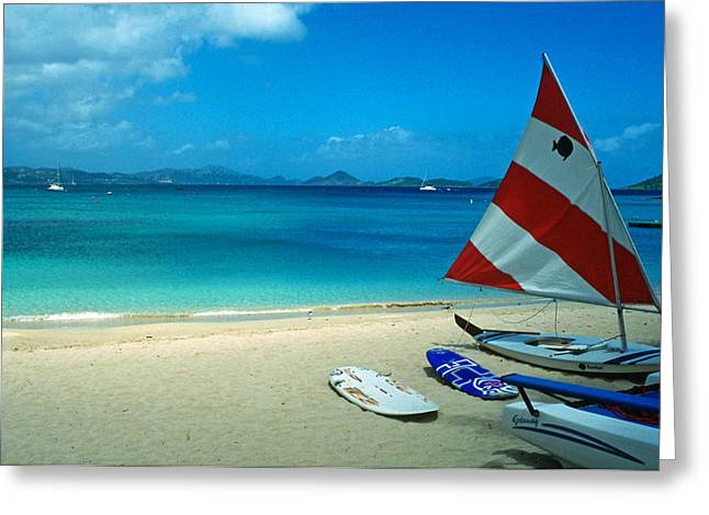 Sailboat Photos Greeting Cards - Sunfish on the Beach Greeting Card by Kathy Yates