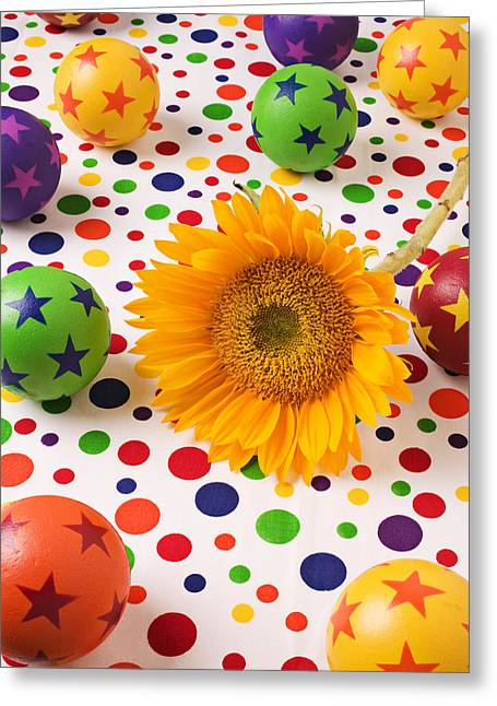 Dot Photographs Greeting Cards - Sunflower and colorful balls Greeting Card by Garry Gay