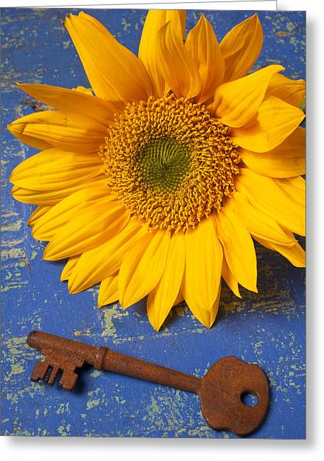 Unlocking Greeting Cards - Sunflower and skeleton key Greeting Card by Garry Gay