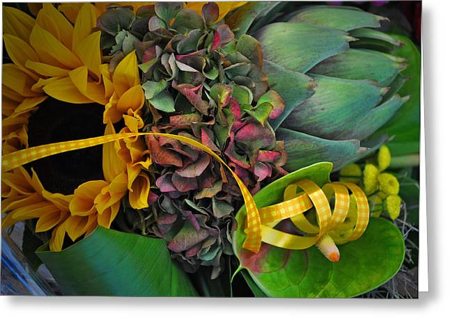 Outdoor Market Greeting Cards - Sunflower and Thistle  Greeting Card by Mary Machare