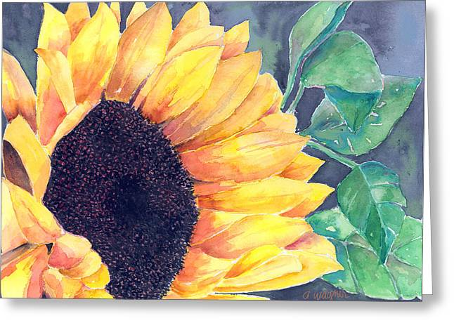 Yellow Sunflower Greeting Cards - Sunflower Greeting Card by Arline Wagner