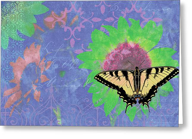Butterfly Paintings Greeting Cards - Sunflower Butterfly Blue Greeting Card by JQ Licensing