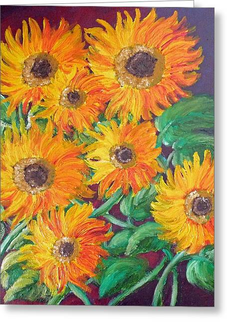 Leaf Greeting Cards - Sunflower Fire Greeting Card by Felix Concepcion