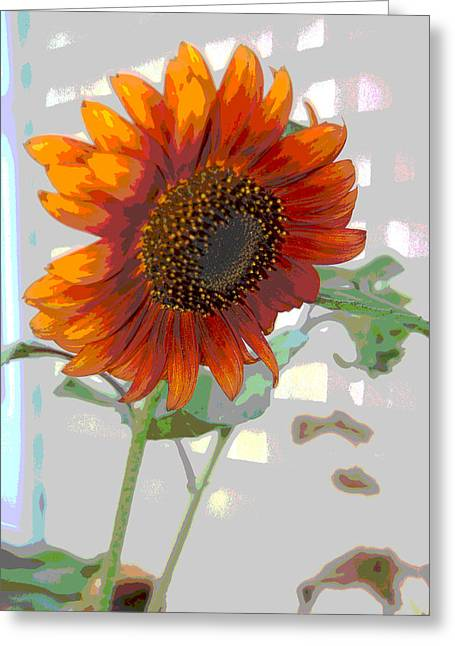 Floral Digital Art Greeting Cards - Sunflower Fun II Greeting Card by Suzanne Gaff