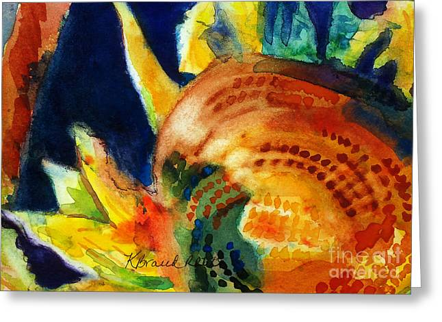 Nature Scene Paintings Greeting Cards - Sunflower Head 3 Greeting Card by Kathy Braud