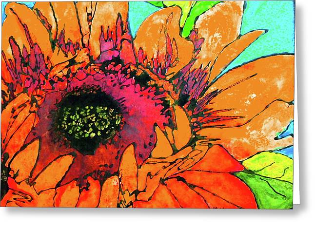 Gold Lime Green Greeting Cards - Sunflower Hues Greeting Card by Laura  Grisham