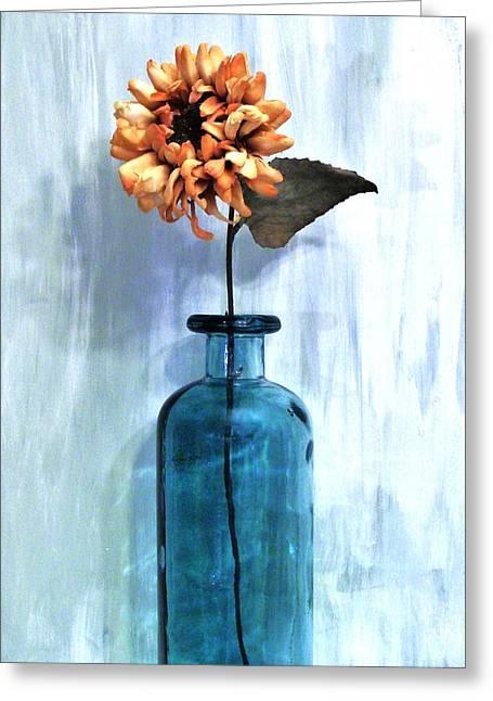 Sunflower In A Beach Bottle Greeting Card by Marsha Heiken