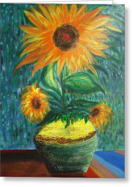 Prasenjit Dhar Paintings Greeting Cards - Sunflower In A Vase Greeting Card by Prasenjit Dhar