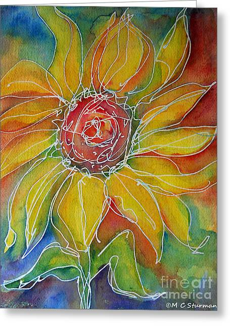 Indiana Flowers Mixed Media Greeting Cards - Sunflower Greeting Card by M C Sturman