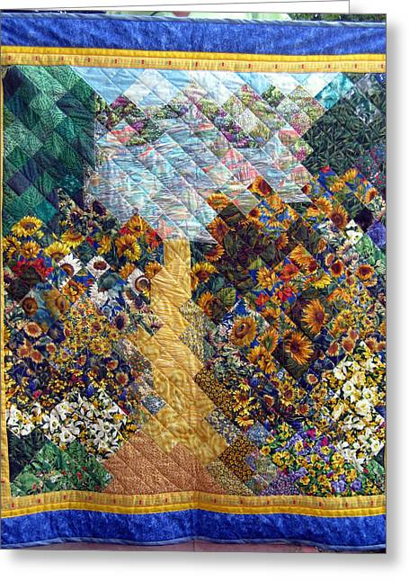 Path Tapestries - Textiles Greeting Cards - Sunflower path Quilt Greeting Card by Sarah Hornsby