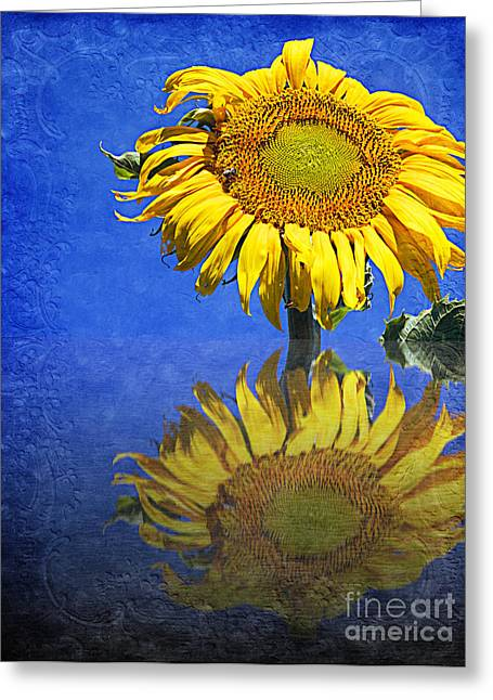 Close Up Floral Mixed Media Greeting Cards - Sunflower Reflection Greeting Card by Andee Design