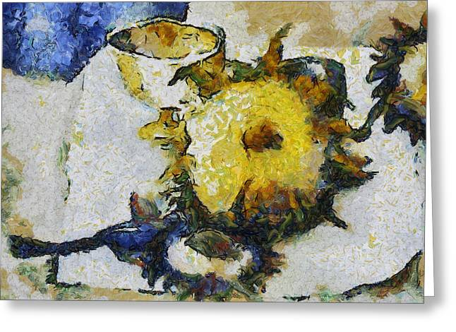 Goblet Digital Art Greeting Cards - Sunflower Still Life Greeting Card by Michelle Calkins