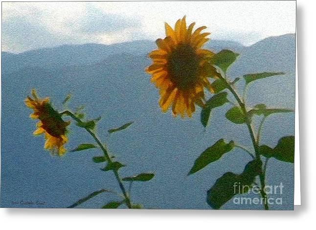 Cristopher Ernest Greeting Cards - Sunflower Sunset Greeting Card by Cristophers Dream Artistry