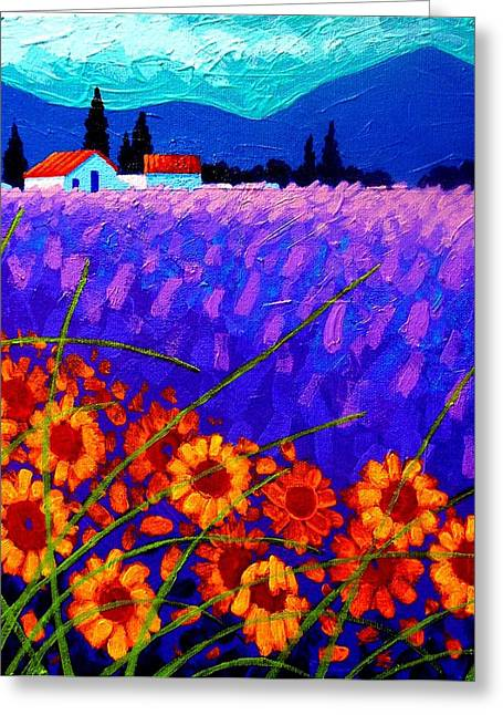 France Greeting Cards - Sunflower Vista Greeting Card by John  Nolan