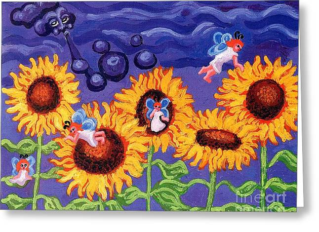 Yellow Sunflower Greeting Cards - Sunflowers and Faeries Greeting Card by Genevieve Esson