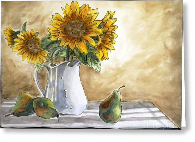 Dyes On Silk Greeting Cards - Sunflowers and Pears Greeting Card by Linda Marcille