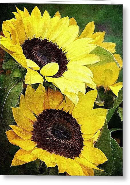 Yellow Sunflower Digital Greeting Cards - Sunflowers Greeting Card by Cathie Tyler