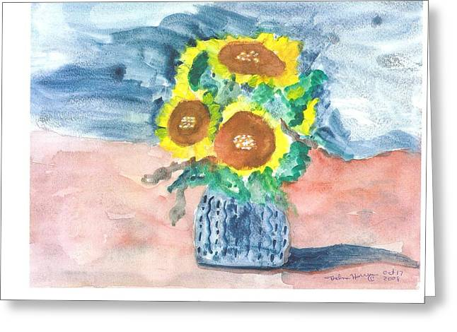Sunflowers In A Blue Vase Greeting Card by Thelma Harcum
